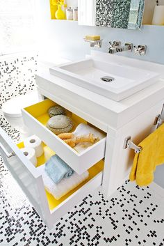 Good idea! Painting the inside of the drawers to match your towels or some other colors.