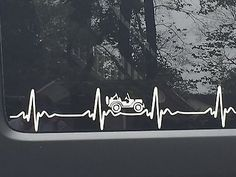 JEEP WRANGLER Heart Beat EKG  Pick Your Color STICKER Decal  Heartbeat JK TJ CJ