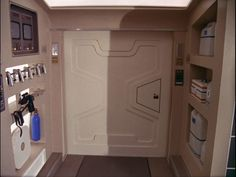 Interior, passenger module of Eagle set from the the television show Space: 1999. Side door in the passenger module.