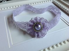 Lilac lace flower with rhinestone pearl by PrettyLoopsHairClips, $10.00