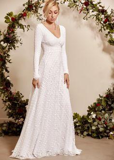Long Sleeve Wedding Dress | Long Sleeve Boho Bridal Gown Indie Wedding Dress, Open Back Wedding Dress, Bohemian Wedding Dresses, Wedding Dress Sleeves, Long Sleeve Wedding, Wedding Gowns, Dress Lace, French Wedding Dress, Sleeve Dresses
