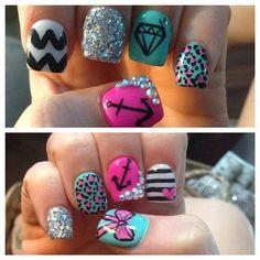 Cute but nails need to be longer Great Nails, Cute Nails, Girly Stuff, Girly Things, Mani Pedi, Manicure, Anchor Nails, Nail Shop, Cool Nail Designs