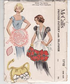 Vintage Sewing Pattern McCall's 1710 Tea Aprons with by Mrsdepew, $30.00