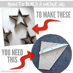 Make a wedge jig for your miter saw. A DIY tutorial to create a wedge jig for making steep cuts on a miter saw plus a wood star project. Learn Woodworking, Woodworking Crafts, Woodworking Plans, Woodworking Furniture, Woodworking Jigsaw, Woodworking Vacuum, Woodworking Essentials, Custom Woodworking, Diy Wood Projects