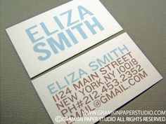 etsy business cards - brown/blue capitals