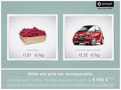 SMART et CLM BBDO communiquent avec humour sur le prix de la smart fortwo . Campagne signée Swann Richard et Augustin Camus