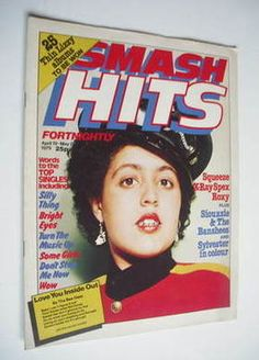 Smash Hits magazine. This is the Poly Styrene cover (19 April - 2 May 1979)