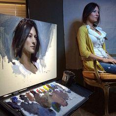 """alla prima figurative art portraiture, Casey Baugh, """"Autumn"""" 20x30 oil on canvas"""