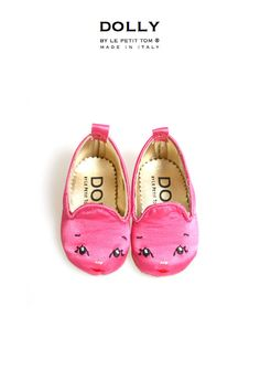 DOLLY BY LE PETIT TOM ® BABY Girl SMOKING SLIPPERS 5SL FUCHSIA DOLLY FACE
