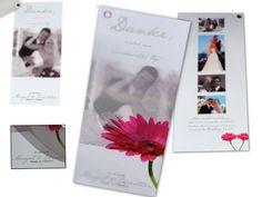 Dankeskarte zur Hochzeit mit pinker Gerbera Gerbera, Polaroid Film, Christian, Pictures, Thanks Card, Good Day, Fiction, Card Wedding, Invitations