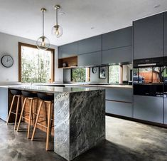 Beautiful Blue Moon kitchen at the Balwyn project. Concrete Kitchen, Kitchen Island Lighting, Shop Lighting, Blue Moon, Kitchen Design, Kitchen Ideas, Granite, Photo And Video, Stone