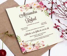 Convite Casamento Floral - Digital Inclui a arte do convite individual Convite 15x21 Convite individual 5x5 O QUE POSSO ALTERAR? Você pode alterar dados, tamanho e cor do fundo. Nada é enviado pelos Correios, todos os produtos da loja são enviados por e-mail (arte digital), não são imp...