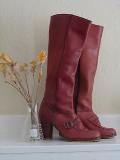 Vintage Red Leather Boots Beastly Lettuce Vintage. Love.