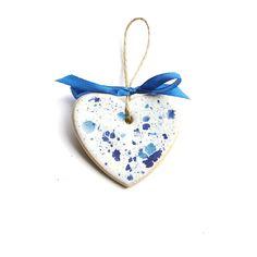 ceramiczne serduszko :: white & blue