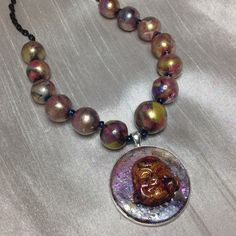 """Beautiful Handmade Buddha Necklace Handmade by me...Polymer Clay necklace measuring 22"""". A must see in person.  The colors are exquisite! JewelryByShari Jewelry Necklaces"""