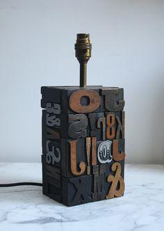 1960s letterpress lamp base.