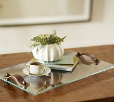 Glass Tray with Leather Handles #potterybarn