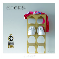STEPS, a modern sneaker display solution in three sizes, minimalistic with a timeless, aesthetic appeal featuring the most desirable shoes of the world. Unpretentiously and cool! Enjoy!