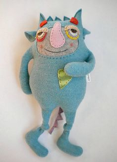Stuffed Animal Monster Upcycled Turquoise Wool by sweetpoppycat by tommie Fabric Toys, Fabric Art, Toy Art, Stuffed Animal Cat, Stuffed Animals, Monster Dolls, Sock Animals, Cute Monsters, Little Doll
