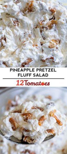 Pineapple Pretzel Fluff Salad – The candied pretzel mix-in is not to be missed! Pineapple Pretzel Fluff Salad – The candied pretzel mix-in is not to be missed! Fluff Desserts, Just Desserts, Delicious Desserts, Yummy Food, Pineapple Pretzel Salad, Pineapple Fluff, Pineapple Desserts, Crushed Pineapple, Pretzel Jello Salads