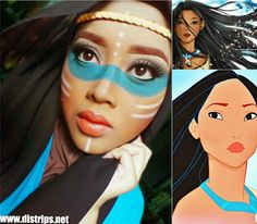 This makeup artist uses her hijab to turn into Pocahontas #EZDisney