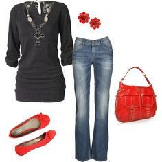 When red isn't the best color for you, a pop of it in a pair of shoes and purse will do!