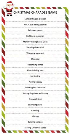 Game Christmas Charades Game - a free printable game for family fun perfect for your holiday party!Christmas Charades Game - a free printable game for family fun perfect for your holiday party! Xmas Games, Holiday Party Games, Holiday Fun, Christmas Gift Exchange Games, Fun Christmas Party Games, Christmas Scavenger Hunt, Dinner Party Games, Printable Christmas Games, Nye Party