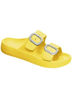 A little brighter, a little blingy-er. That's what summer is, and the Princess sandals fit the bill! Five colors, adjustable rhinestone buckles, massaging, easy-clean footbed. Most sizes.