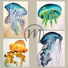 My watercolor jellyfishes in one place :)