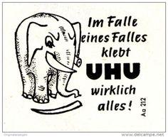 Original-Werbung/ Anzeige 1960 - IM FALLE EINES FALLES KLEBT UHU WIRKLICH ALLES / CARTOON - ca. 40 X 35 mm