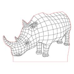 Live rhino 3d illusion lamp vector file for CNC - 3bee-studio