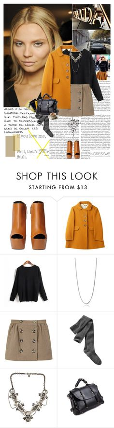 """""""If you love me, well that's your fault."""" by hug-voldemort ❤ liked on Polyvore featuring Prada, Giuseppe Zanotti, MELIN, Opening Ceremony, Gap, Yochi, Parra, bib necklaces, statement necklaces and mini skirts"""
