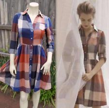 MOULINETTE SOEURS Anthropologie REED Shirt Dress 4 XS S RED PLAID Vtg50sLook EUC