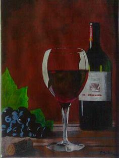 Wine Glass, created by Samuel Friday,oil on A4 paper.