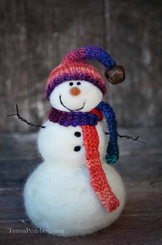 Snowmen Solid wool needle felted Snowman 527 by BearCreekDesign
