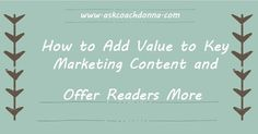 Have you created a vision, process, and actions for helping your readers' experiences?  This is what content-driven marketing is and it's what you do, or need to be doing. If you want to get your own marketing checklist free then, click here to sign up!