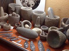 California Native American stone artifacts, mortars and pestles.