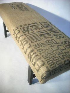 Re-Purposed Guatemala Coffee Bag Bench via Etsy.
