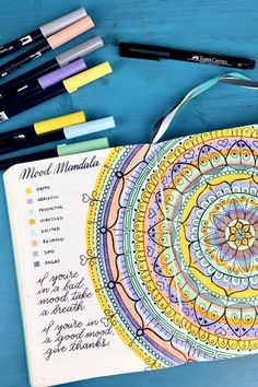 Increase mindfulness by mapping feelings on a mood mandala. Each color represents a different emotion, like stress, gratitude or happiness. By adding one concentric circle every day, a bigger picture begins to take shape.