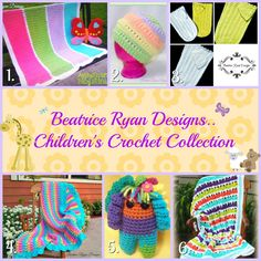 Six Fun, Bright and Free Children's Crochet Patterns by Beatrice Ryan Designs! Spring is in the air and baby showers are on our agenda!! Here are 6 of the Free Crochet Patterns I have design…