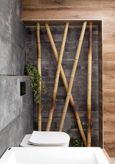 přírodní koupelna Bamboo Bathroom, Natural Bathroom, Washbasin Design, Outdoor Bathrooms, Bathroom Design Luxury, Toilets, Restaurant Design, Sweet Home, Decoration
