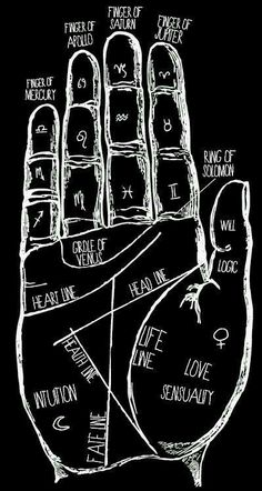 Witchcraft, Magick & Divination: Palmistry (black & white).