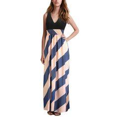 Elegant V Neck High Waist Maxi Long Dress Beach Striped Party Dress