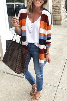 Molydress Casual Striped Multicolor Cardigan – MolyDress