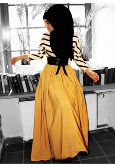 Modest long sleeve maxi dress black and white stripe top with yellow skirt stylish trendy fashion | Mode-sty tznius hijab muslim mormon jewish christian lds islamic