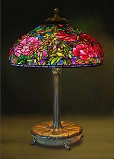 Art Nouveau glass peony lamp... wow!