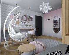 Projekt pokoju dla małej nastolatki #kadawnetrza #projekt #pokojdziecka #pokojdziewczynki #projektwnętrza #nowyprojekt #projektowaniewnetrz #project #newproject #interiordesign #interior #dladziewczynki #kidsroom #kidsroomdesign #kidsroomdecor #design #interiordesigner #brudnyroz #miedzyrzecz #lubuskie #projektowanie #kadawnętrza Hanging Chair, Kids Room, Children, Furniture, Design, Home Decor, Young Children, Room Kids, Boys