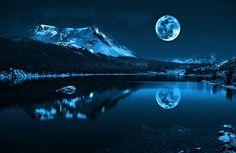 fantasia, kuu, järvi, tasainen vesi, yö, sininen, heijastus, puut, vuori, kirkas taustakuvia