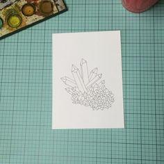 Work in progress watercolor mineral