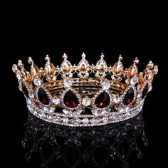 5cm High Ruby Red Sparkling Crystal Gold King Crown Wedding Prom Party Pageant #Crown